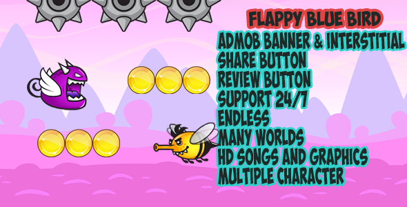 Flappy blue bird –eclipse & BuildBox project With Admob