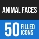 Animal Faces Blue & Black Icons