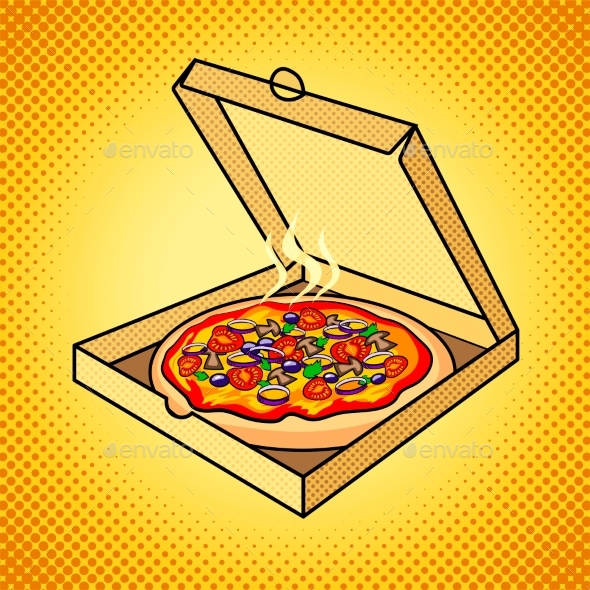 Fresh Pizza in Box Pop Art Vector Illustration