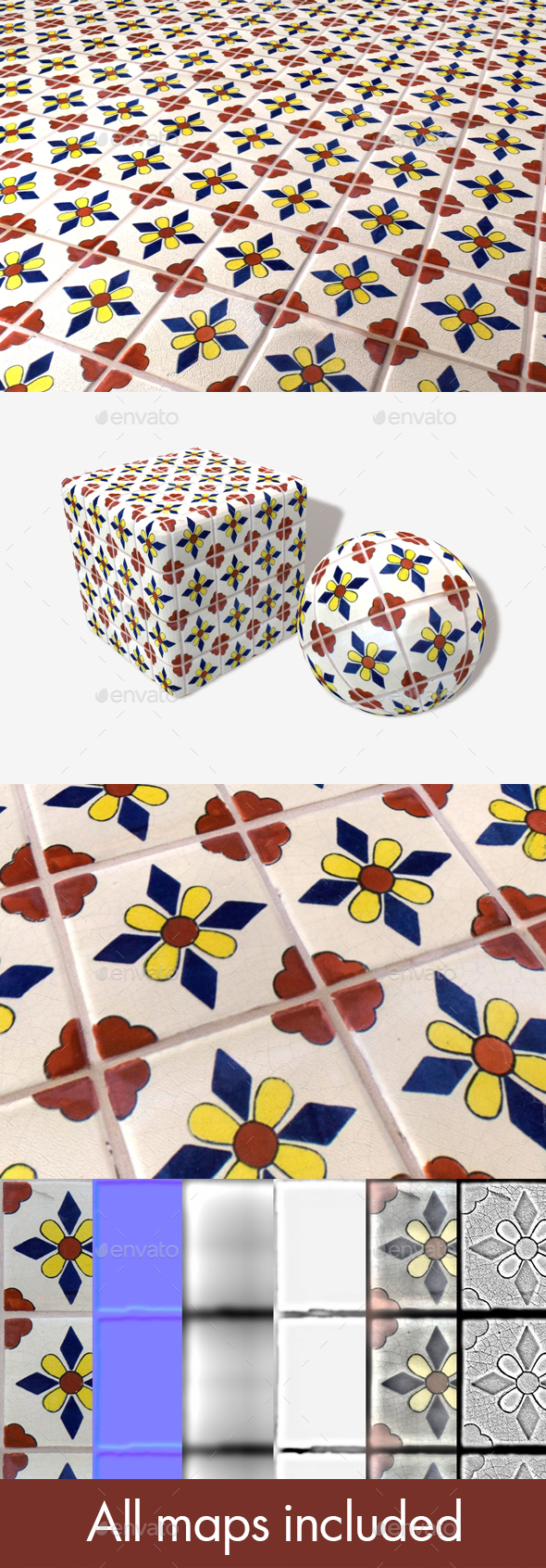 Hand Painted Tiles Seamless Texture - 3DOcean Item for Sale