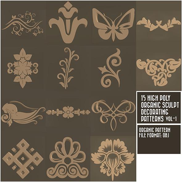 15 High Poly Decorating Ornaments Sculpt Pattern_Vol-1 - 3DOcean Item for Sale
