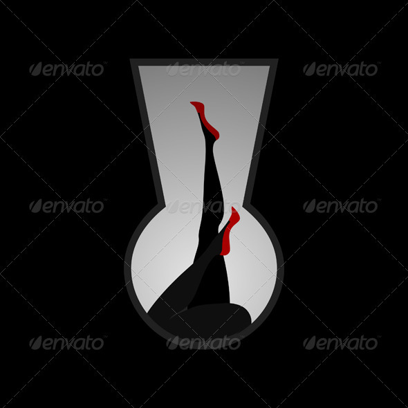 Graphic River Female feet in a keyhole Vectors -  Characters  People 1927681