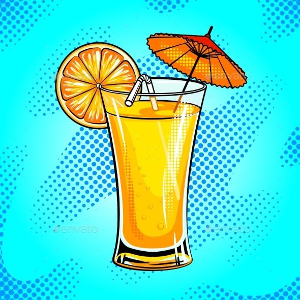 Summer Cocktail Pop Art Vector Illustration