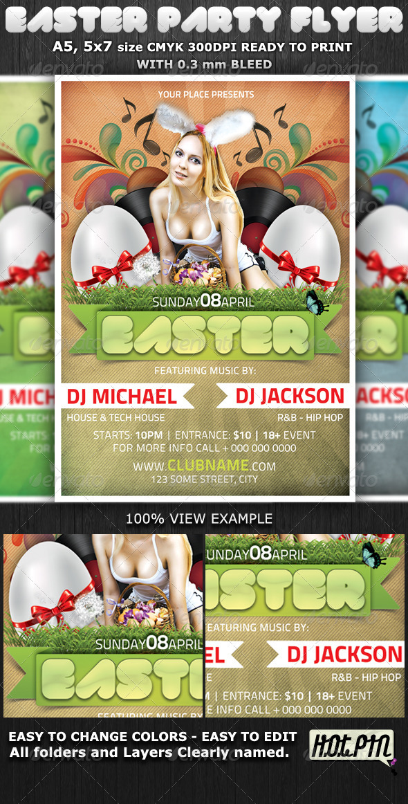 Easter Club-Party Flyer Template - Flyers Print Templates