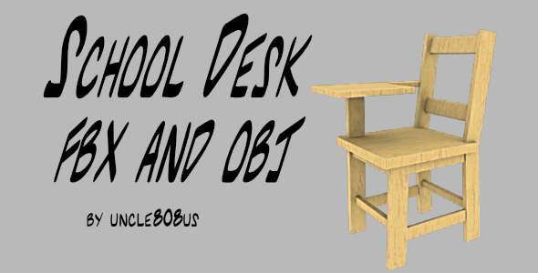 School Desk FBX_OBJ - 3DOcean Item for Sale
