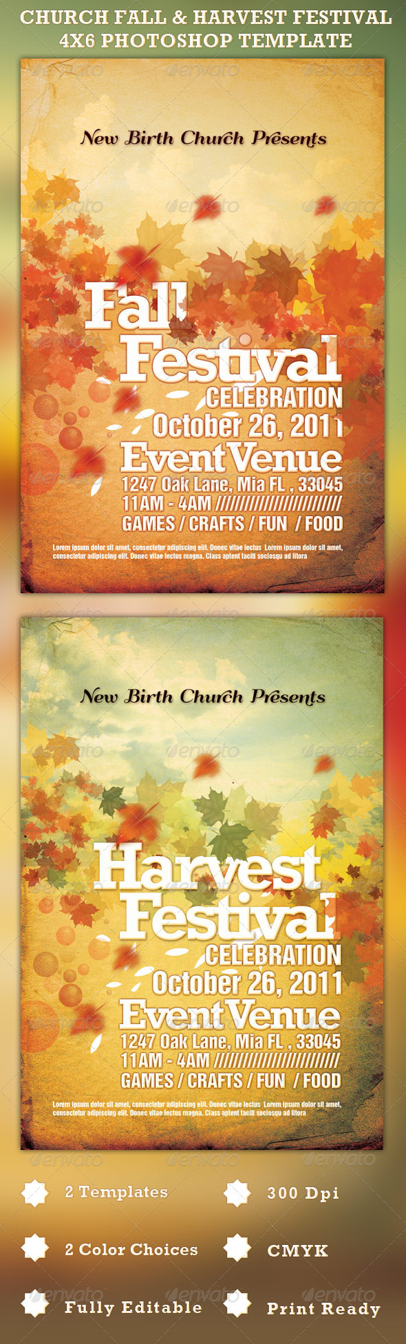 GraphicRiver Church Fall and Harvest Festival Template 688860