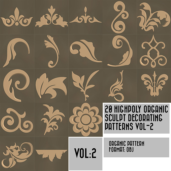 20 High Poly Decorating Organic Pattern Pack Vol-2 - 3DOcean Item for Sale