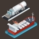 Isometric Truck with Tanker and Sea Tanker