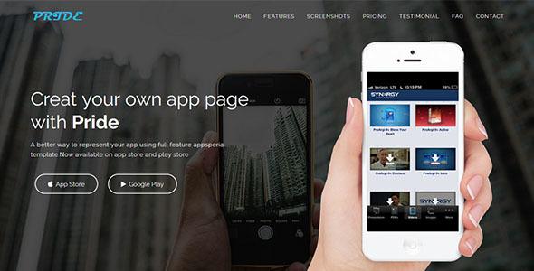 PRIDE - Responsive App Landing Page