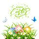 Easter Eggs in Grass with Butterflies on White Background
