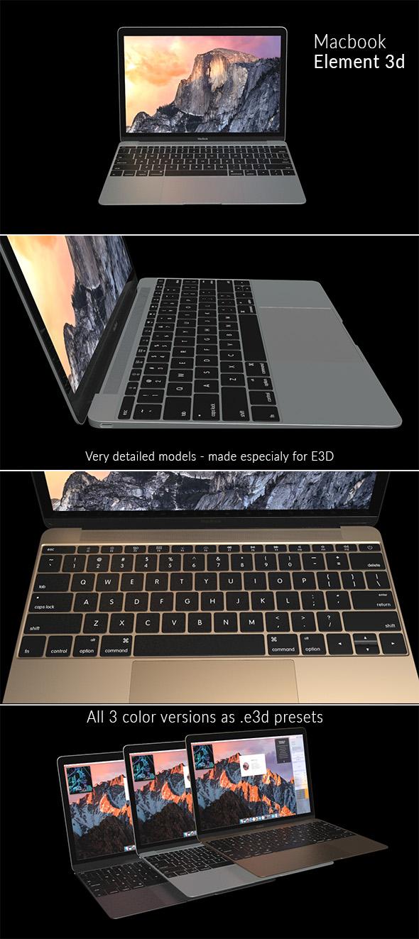 Element 3D - Apple Macbook - 3DOcean Item for Sale
