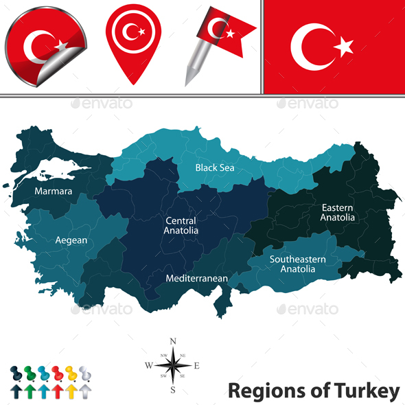 Map of Turkey with Regions