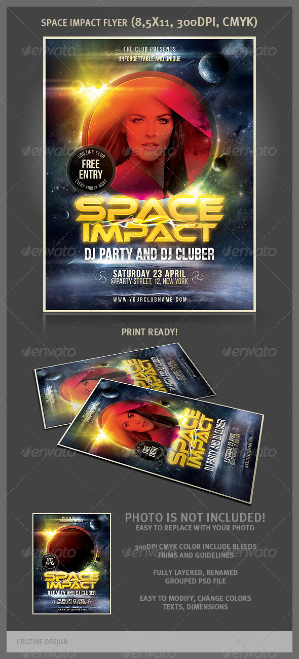 GraphicRiver Space Impact Party Flyer 1918445