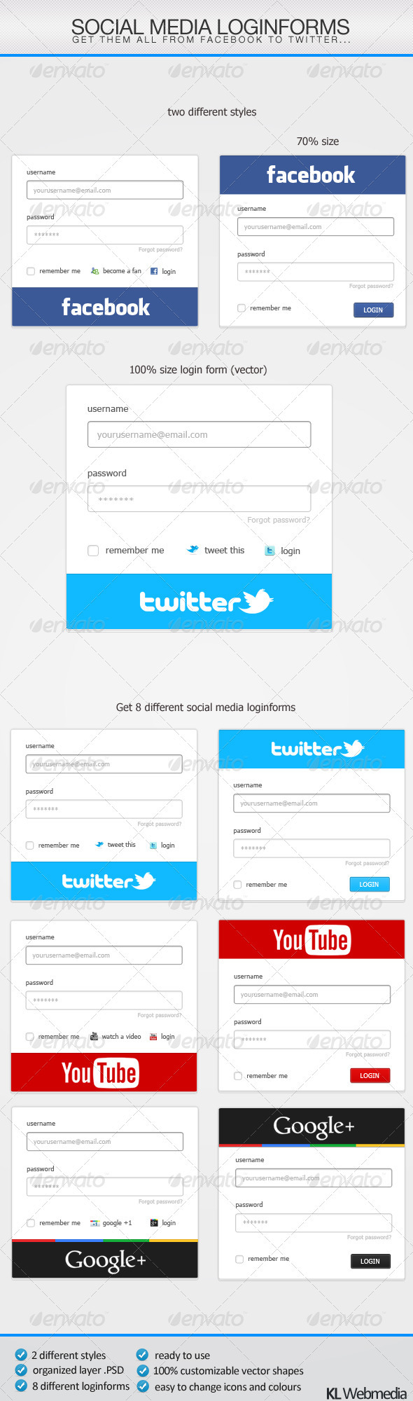 Social Media Loginforms - Forms Web Elements