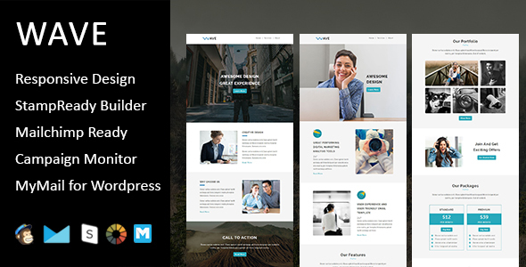 Wave – Multipurpose Responsive E-mail Template with Stampready Builder Access (E-mail Templates)