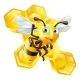 Cartoon Bee and Honeycomb