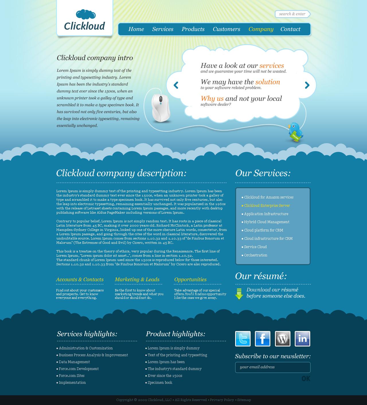 Clickloud Web 2.0 Business Template