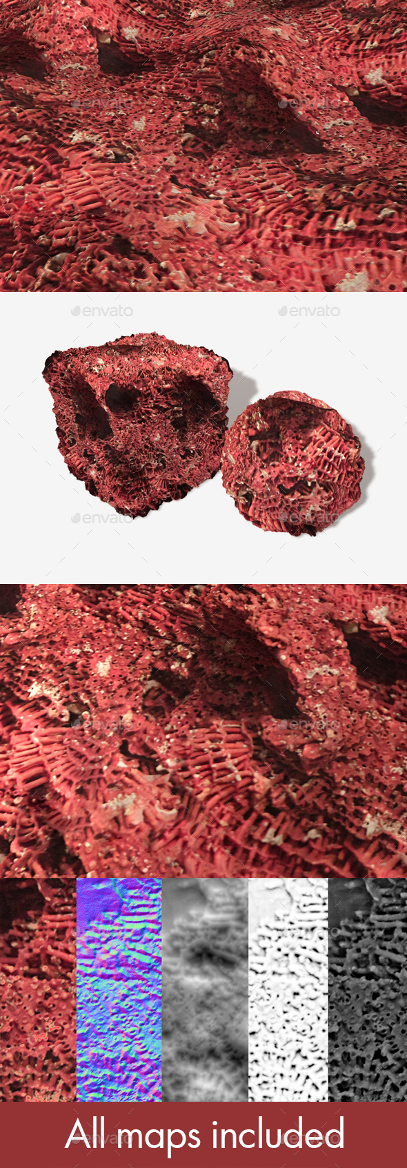 Red Coral Seamless Texture - 3DOcean Item for Sale
