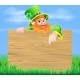 Leprechaun and Wooden Sign in Spring Field
