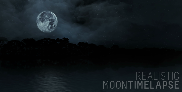 Realistic Moon Timelapse Over Trees & Water