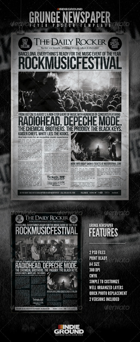 GraphicRiver Grunge Newspaper Flyer Poster 408523