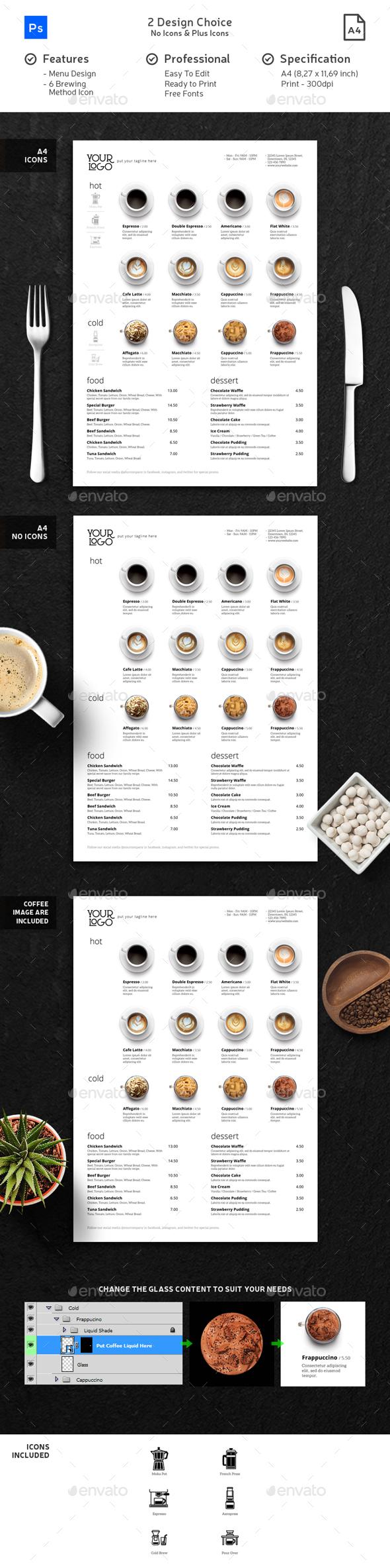 Minimalist Photography Coffee Menu