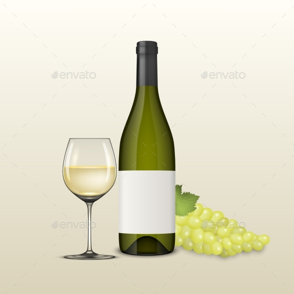 Vector Realistic Grapes Brunch, Wine Glass and