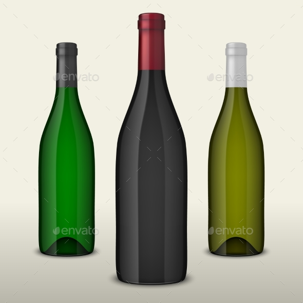 Set of Three Realistic Vector Wine Bottles Without