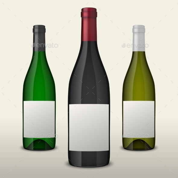 Set of Three Realistic Vector Wine Bottles with