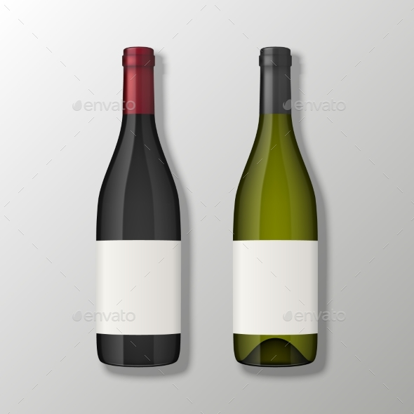 Two Realistic Vector Wine Bottles in Top View with