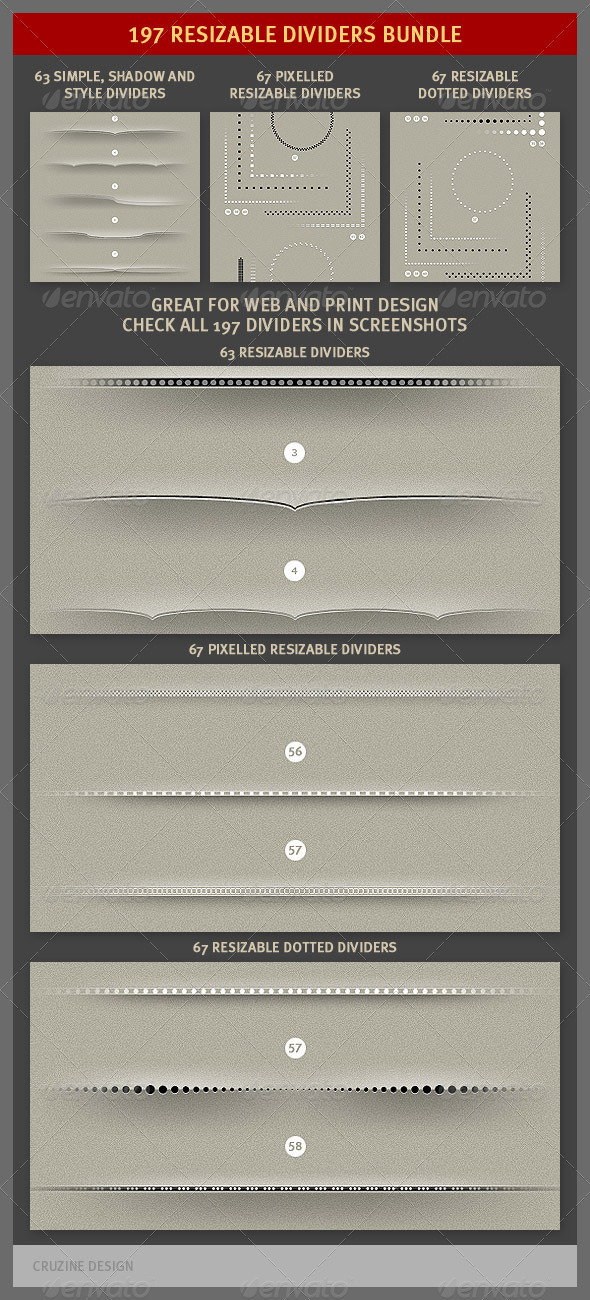 197 Resizable Dividers Bundle - Miscellaneous Web Elements