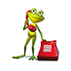 3D Illustration Frog with Red Phone