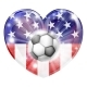 USA Soccer Heart Flag