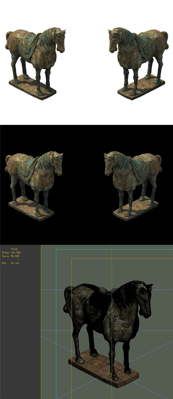 Game Model - Terracotta Warriors and Horses 02 - 3DOcean Item for Sale