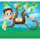 Monkey Cartoon in Jungle Swinging on Vine
