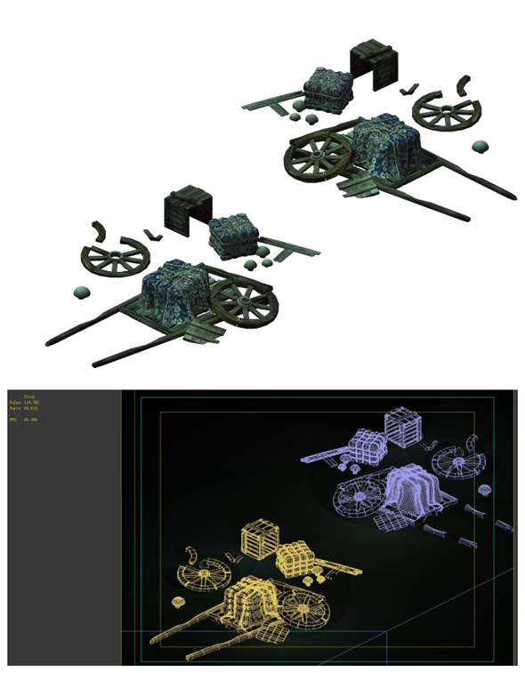 Game Models - Broken Wagons - 3DOcean Item for Sale