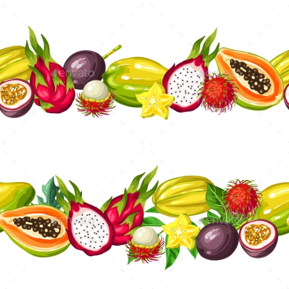Seamless Border with Exotic Tropical Fruits