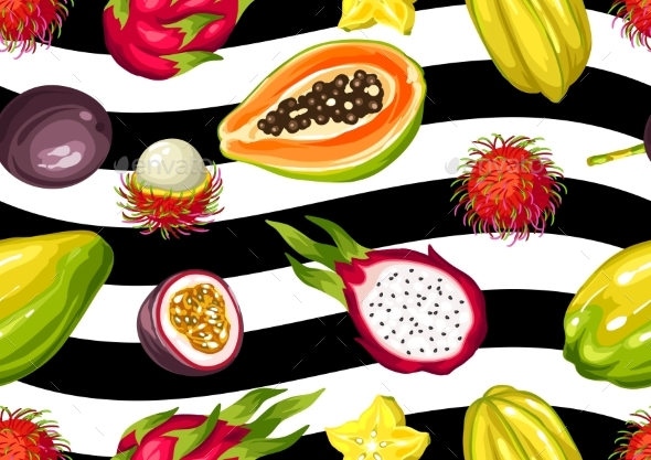 Seamless Pattern with Exotic Tropical Fruits