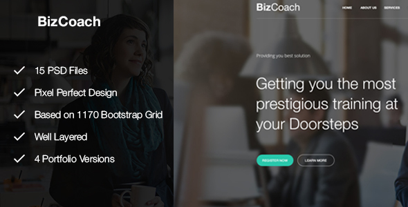 BizCoach - Busines Training, Coaching & Corporate PSD Template