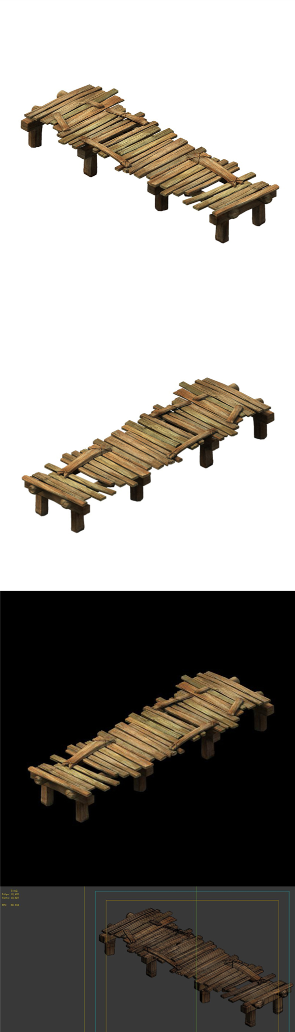 Game Model - Broken Wooden Bridge - 3DOcean Item for Sale