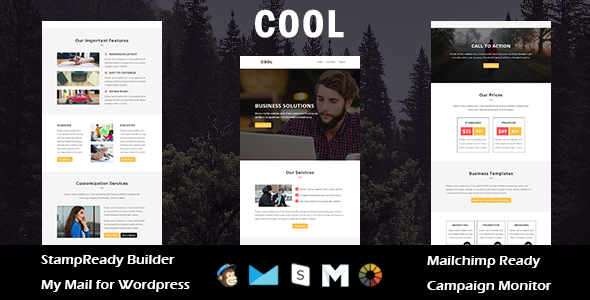 Cool - Multipurpose Responsive Email Template with Stampready Builder Access
