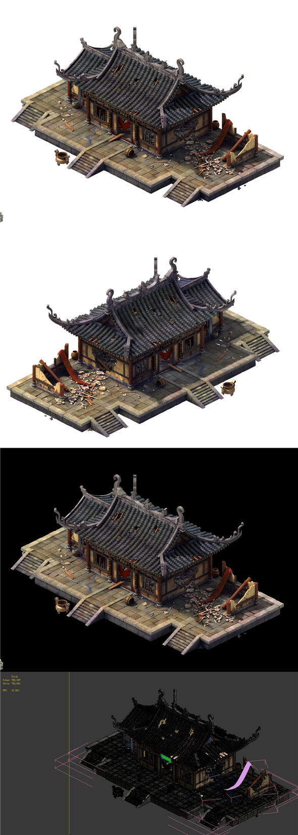Game Model - Broken Temple of the main hall - 3DOcean Item for Sale