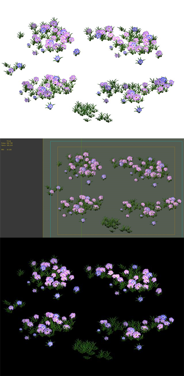 Game Model - Grass 01 - 3DOcean Item for Sale