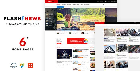 Фото Wordpress премиум шаблон  Flash News - Magazine, Blog, News WordPress Theme — magazine preview.  large preview