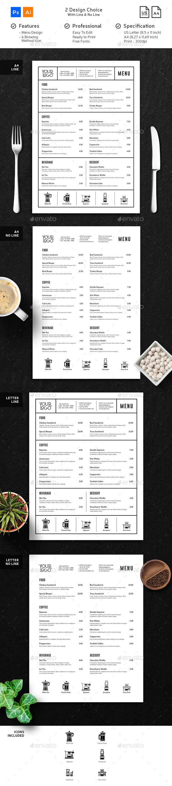 Coffee Menu Minimalist Clean