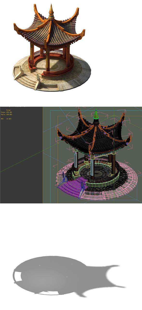 Game Models - City Gazebo 01 - 3DOcean Item for Sale