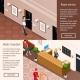 Hotel Service Isometric Horizontal Banners