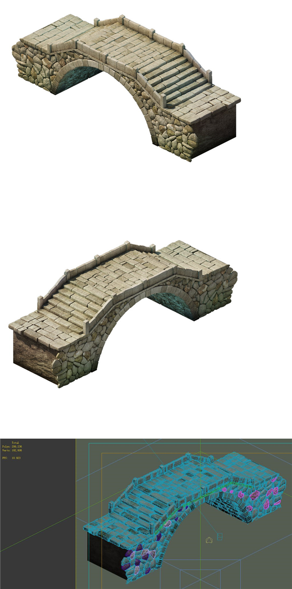 Game Model - City Stone Bridge 02 - 3DOcean Item for Sale