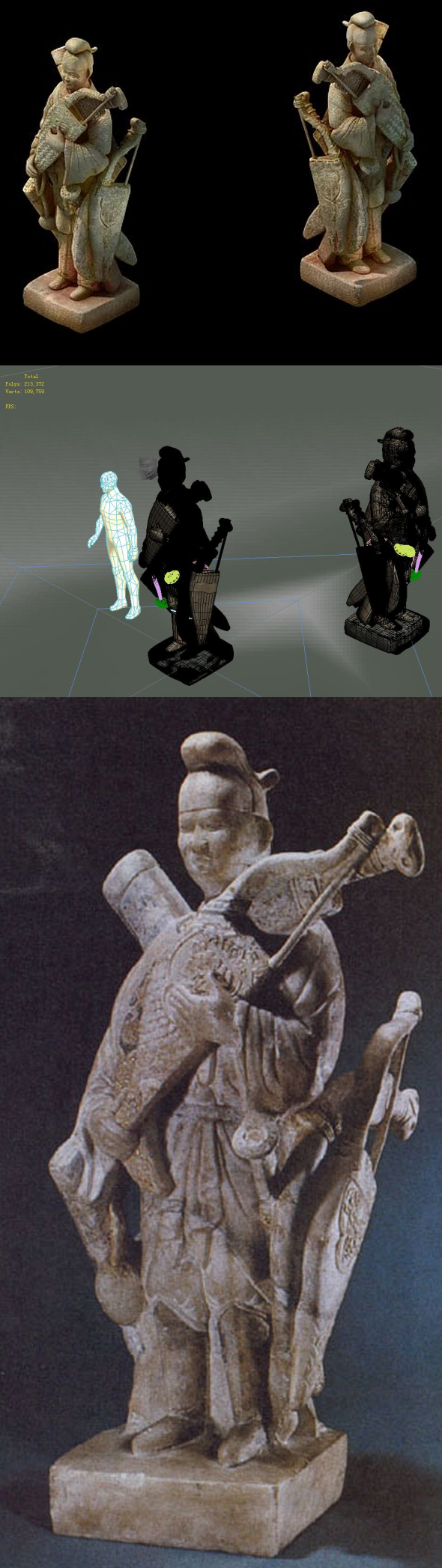 Game model - holding a bow stone statue - 3DOcean Item for Sale