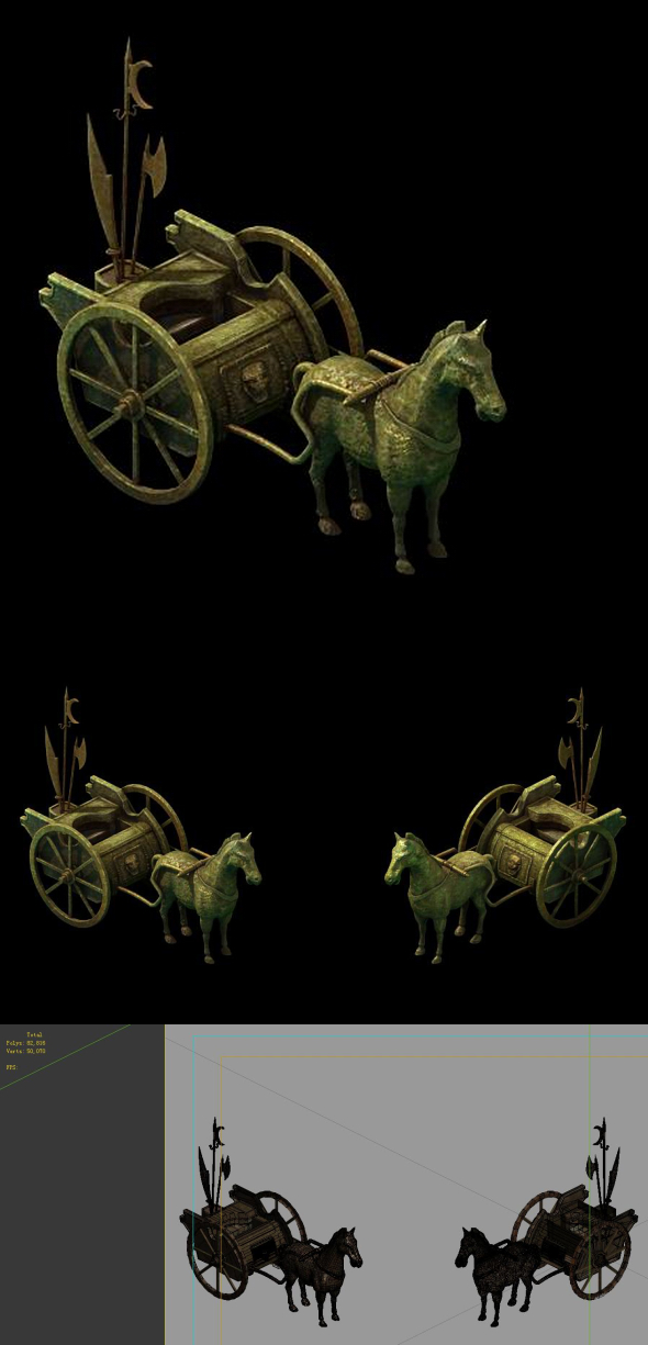 Game model - large bronze carriage - 3DOcean Item for Sale